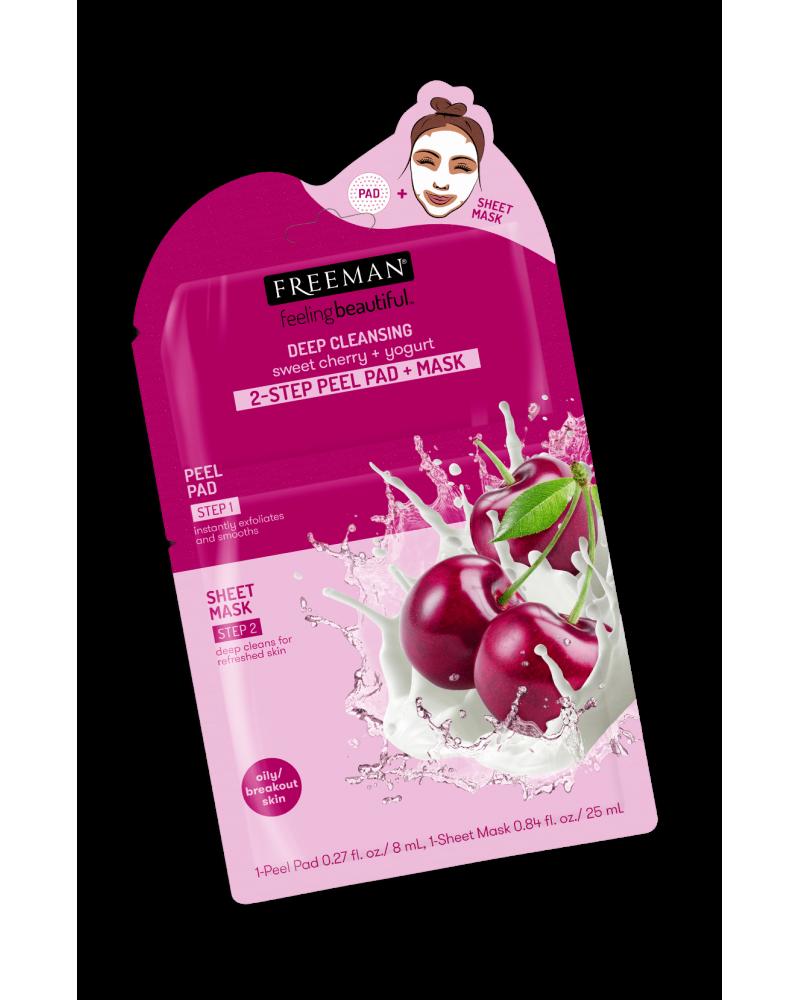 Freeman DEEP CLEANSING sweet cherry + yogurt 2-STEP PEEL PAD + MASK -