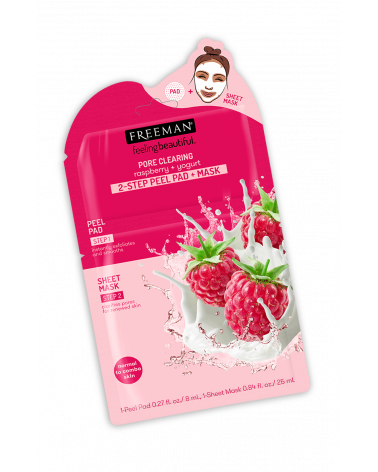 Freeman PORE CLEARING raspberry + yogurt 2-STEP PEEL PAD + MASK - sis-style.gr
