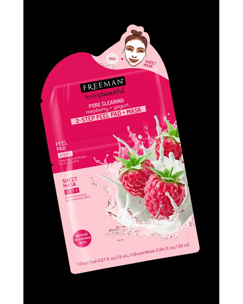 Freeman PORE CLEARING raspberry + yogurt 2-STEP PEEL PAD + MASK - sis-style.gr