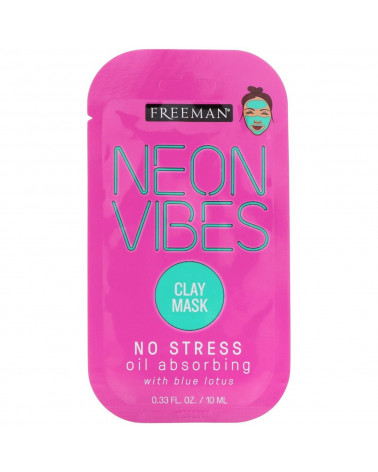 Freeman Neon Vibes No Stress Oil Absorbing Blue Lotus Clay Mask 10ml -