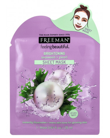 Freeman BRIGHTENING seaweed + pearl Sheet Mask 25ml - sis-style.gr