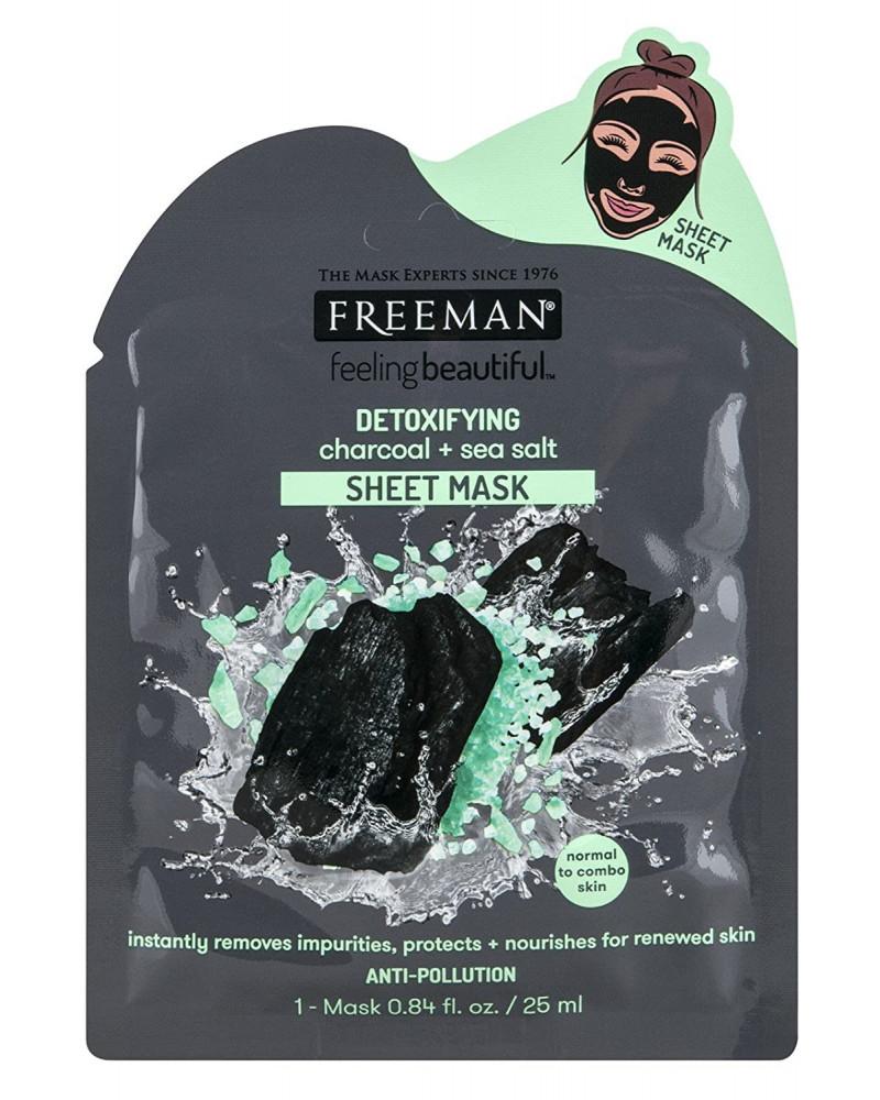 Freeman DETOXIFYING charcoal + sea salt Sheet Mask 25ml - sis-style.gr