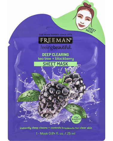 Freeman Deep Clearing Tea Tree & Blackberry Mask 25ml - sis-style.gr