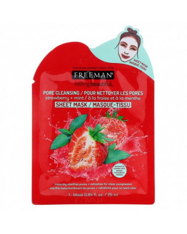 Freeman Pore Cleansing Strawberry & Mint Sheet Mask 25ml - sis-style.gr